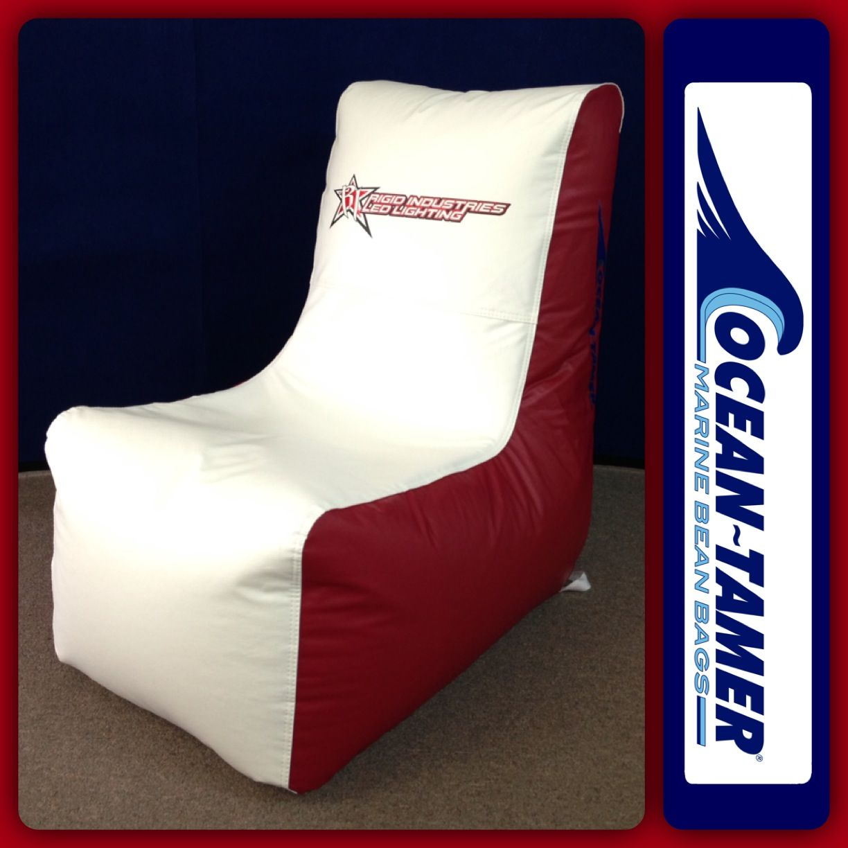 Ocean Tamer Wedge Marine Bean Bag With Rigid Industries Logo On The Center Backrest And