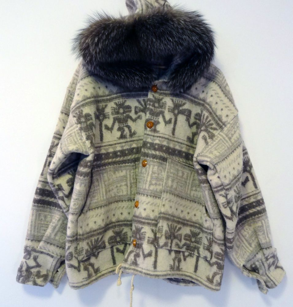 32f2f9355d1ab 100% Wool Handmade Eskimo Inca Ethnic Fox Fur Hooded Mens Jacket Coat Size  XL