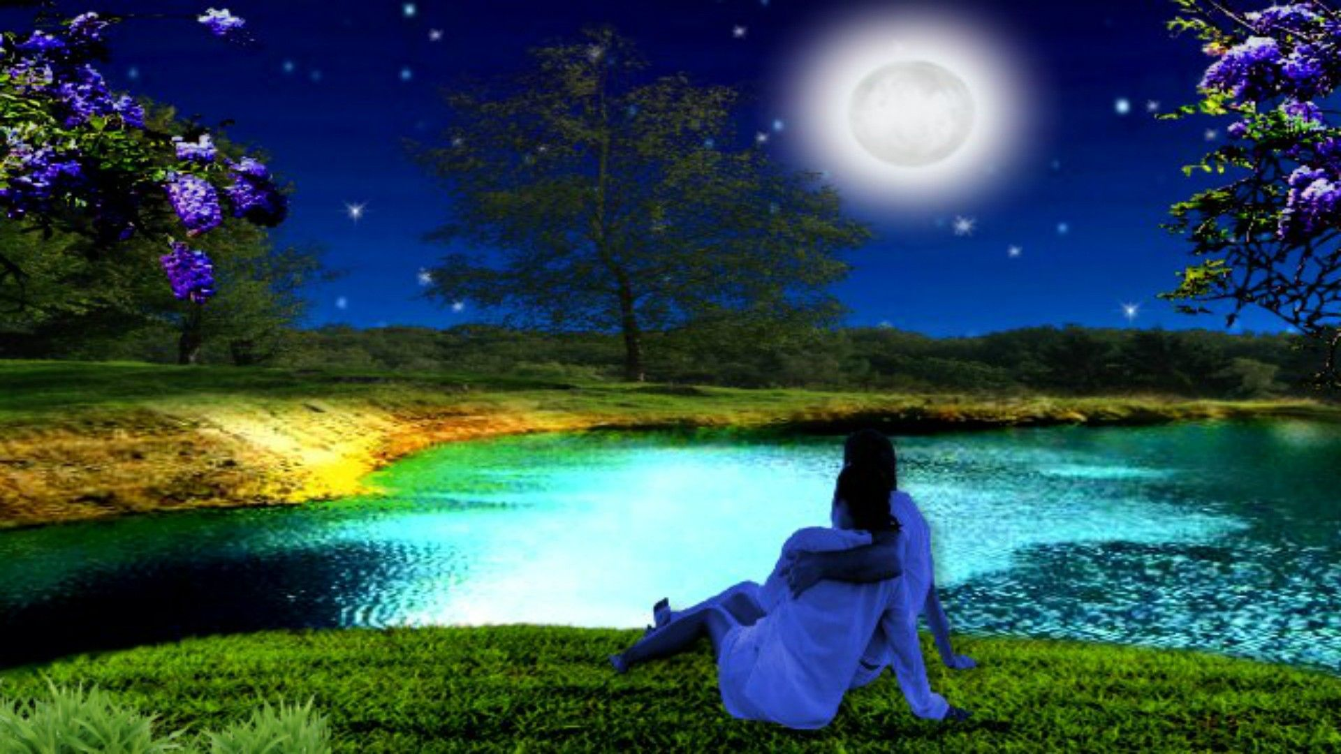 Romantic Night Lake couple Full Moon Magic Nature HD Desktop ???? -MOON Pinterest Moon ...