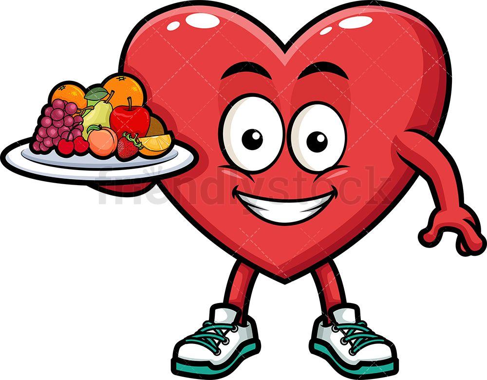 Heart Holding Healthy Foods Cartoon Vector Clipart Friendlystock Food Cartoon Cartoon Clip Art Healthy Fruits