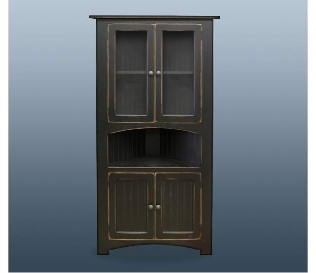 Antique Black Corner Cabinet This solid pine corner cabinet is