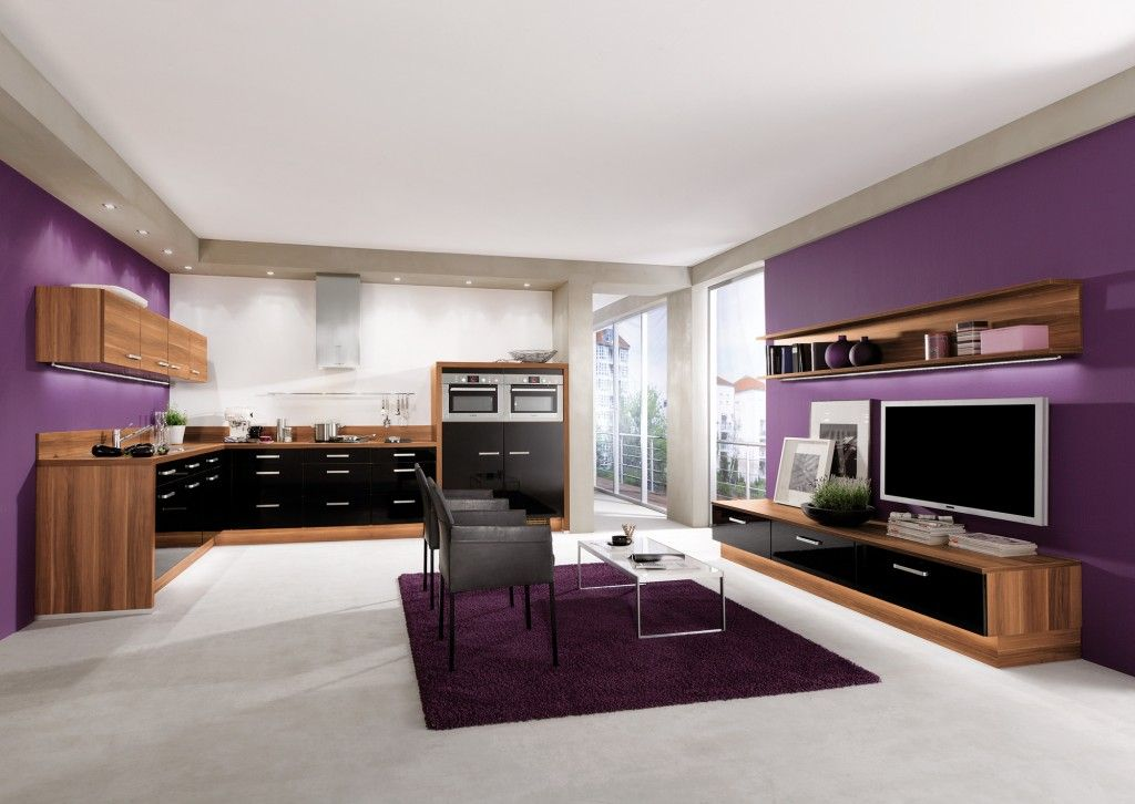 cuisine aviva noir bois avec mur violet pour un. Black Bedroom Furniture Sets. Home Design Ideas