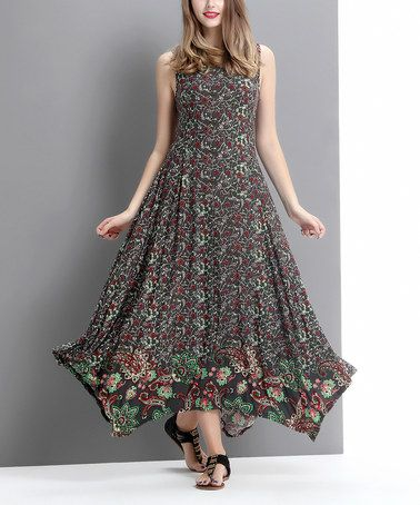 Loving this Charcoal Paisley Scoop Neck Handkercheif Maxi Dress - Women on #zulily! #zulilyfinds