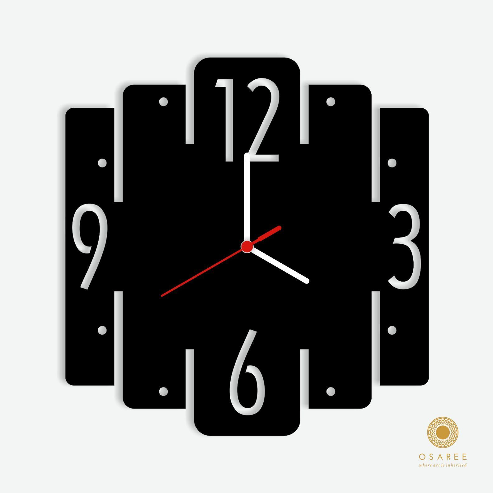 Square Geometric Wall Clock More
