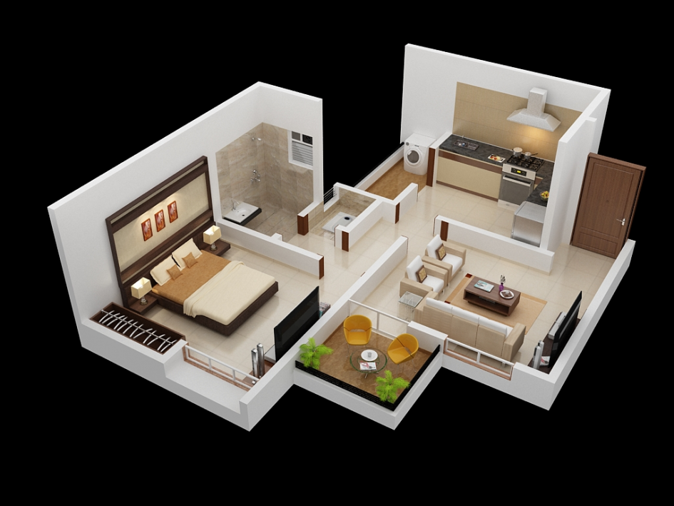 Apartment One Bedroom Apartment 3D Floor Plan With Small ...