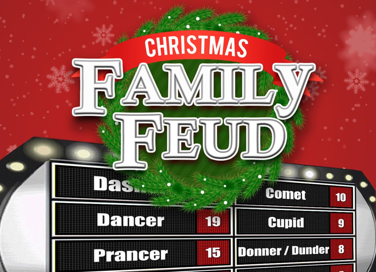 Christmas Family Feud Trivia Powerpoint Game Mac And Pc With Family Feud Powerpoint Template Fr In 2020 Christmas Family Feud Christmas Trivia Family Christmas Party