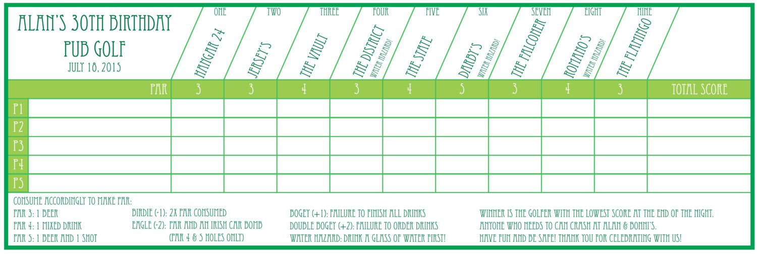 Pub Golf Scorecard Custom Printable In 2019 This Is