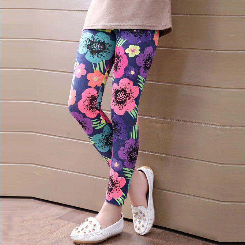 Flower Leggings Pants Baby Floral Kids Trousers Fit Ankle Elastic Printed Girl