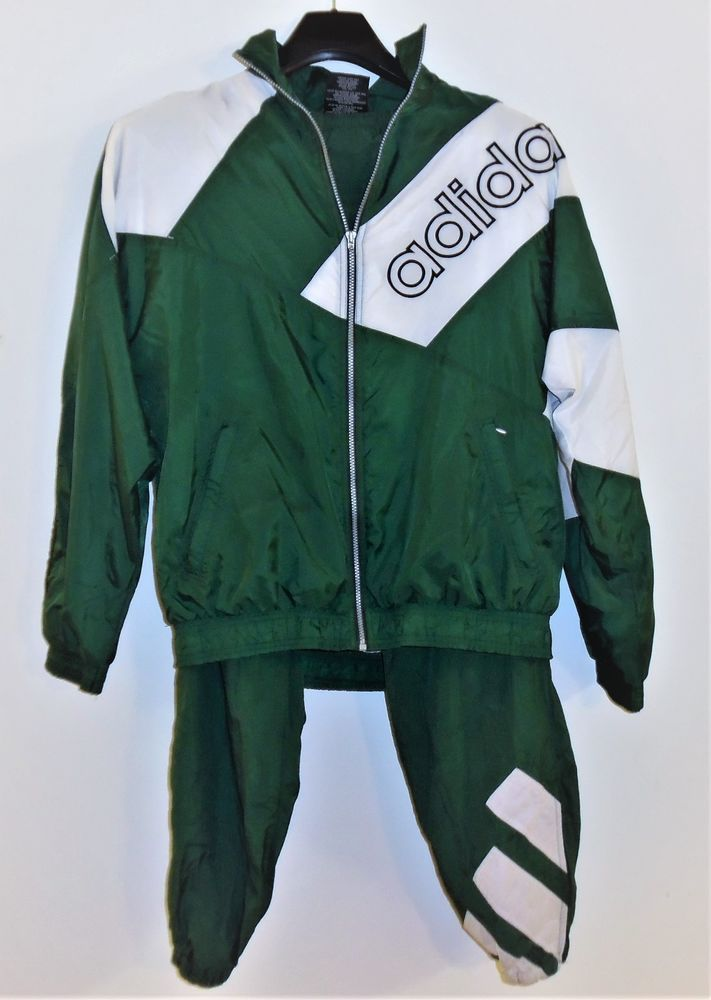 c03410fc8b57e Vintage Adidas Spell Out Logo Tracksuit Men's Large Green White ...