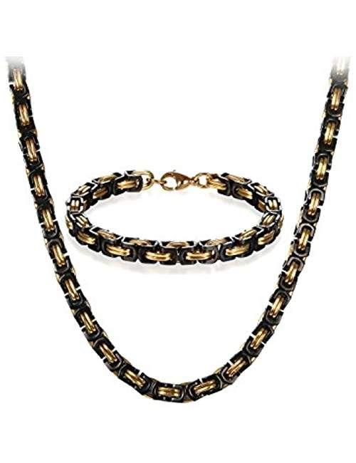 JewelryWe Lot de Bracelet et Collier Homme Cha ne Punk Style