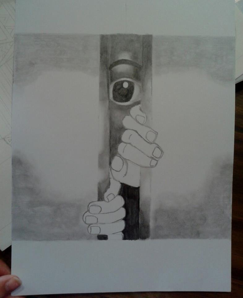 """Buscando una salida"" Dibujo en ByN."