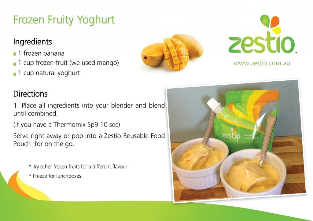 This Frozen Fruity Yoghurt is a perfect treat in a Zestio Pouch for lunchboxes and on-the-go, they work well as a Zesty Pop too.