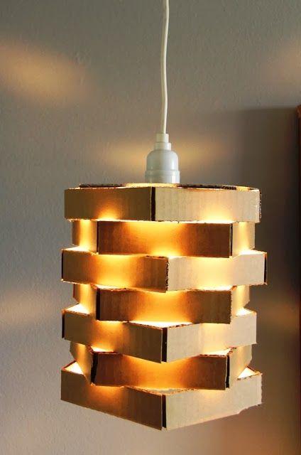 ☼ DIY : une suspension en carton recyclé ☼   Diy luminaire
