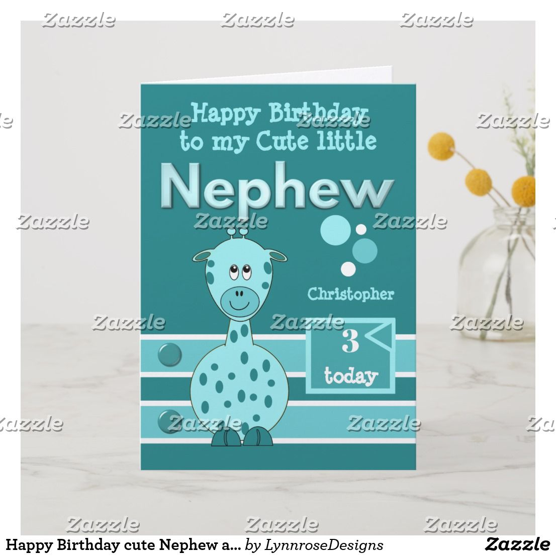 Happy Birthday cute Nephew any age turquoise green Card