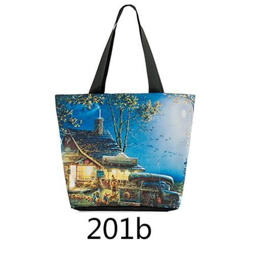Miyahouse Woman Canvas Shoulder Bags Casual Female Beach Bags Landscape  Printed Shopping Bag Ladies Canvas Tote e32ddb9b2edd