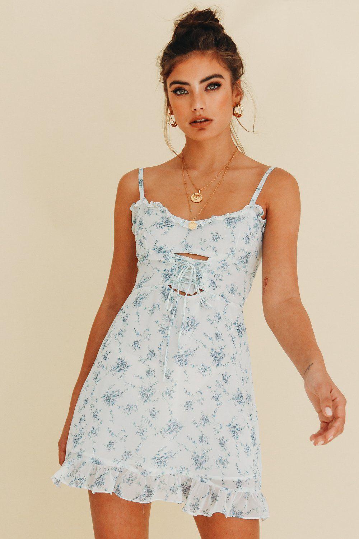 19d74408e1a Female Renaissance Mini Dress // Blue Floral White Mini Dress, Gold  Accessories, French