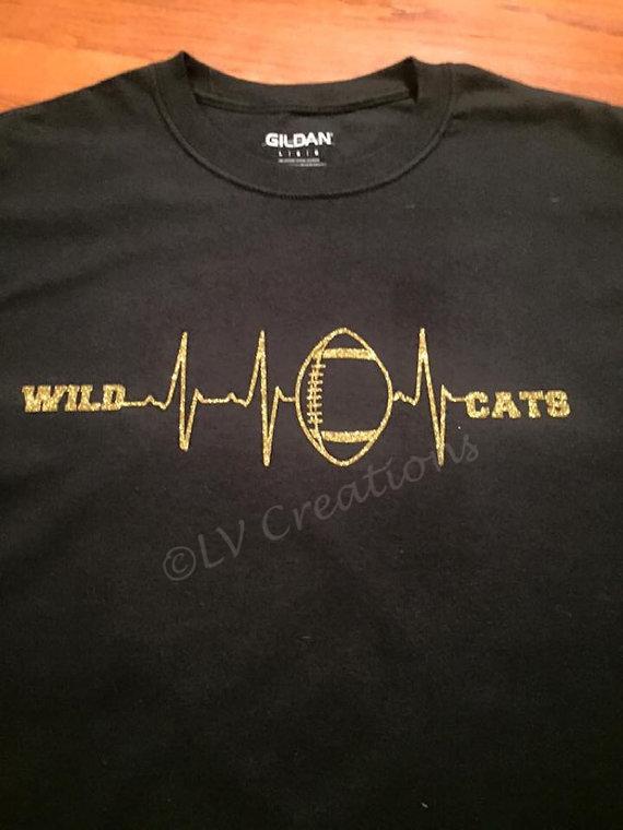 Custom Team Logo Heartbeat Football Shirt School Name