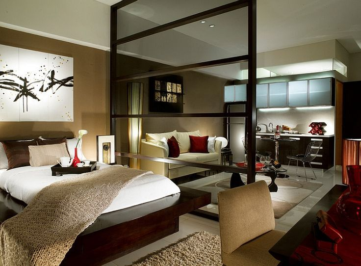 Modern asian style bedroom for a posh studio apartment: | Moje ...