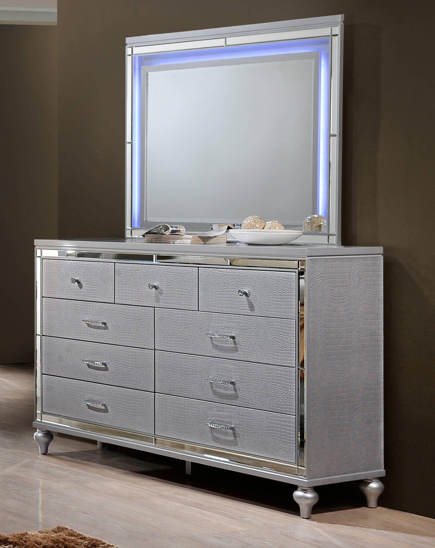 Valentino Silver Hardwood Solids Veneers 9 Drawers Dresser