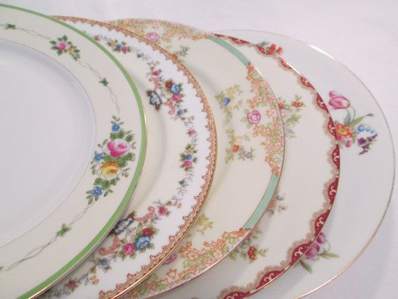 Vintage Mismatched China Dinner Plates Set Of 5 By Lbfcollections 45 00