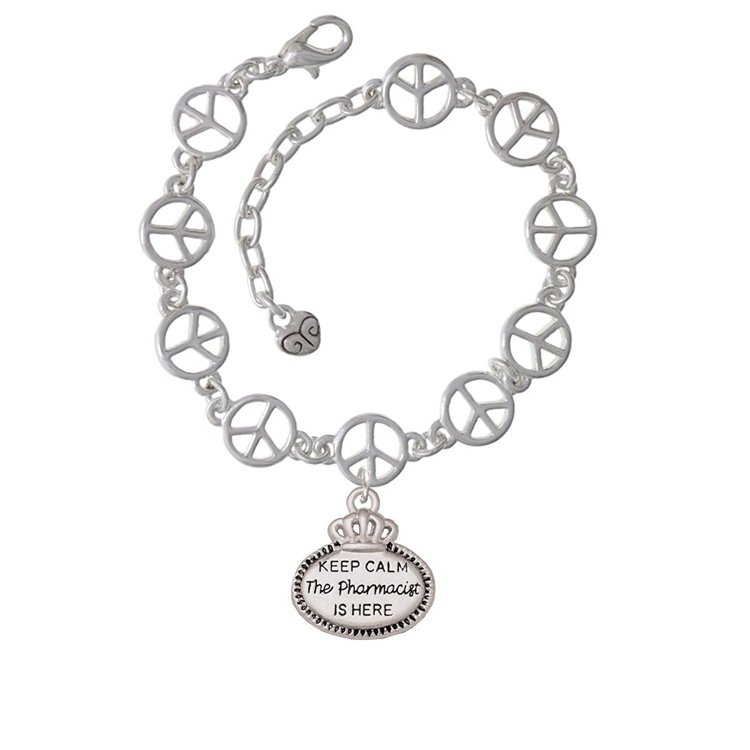 Keep Calm The Pharmacist Is Here Open Peace Sign Link Charm Bracelet * You  Can Find