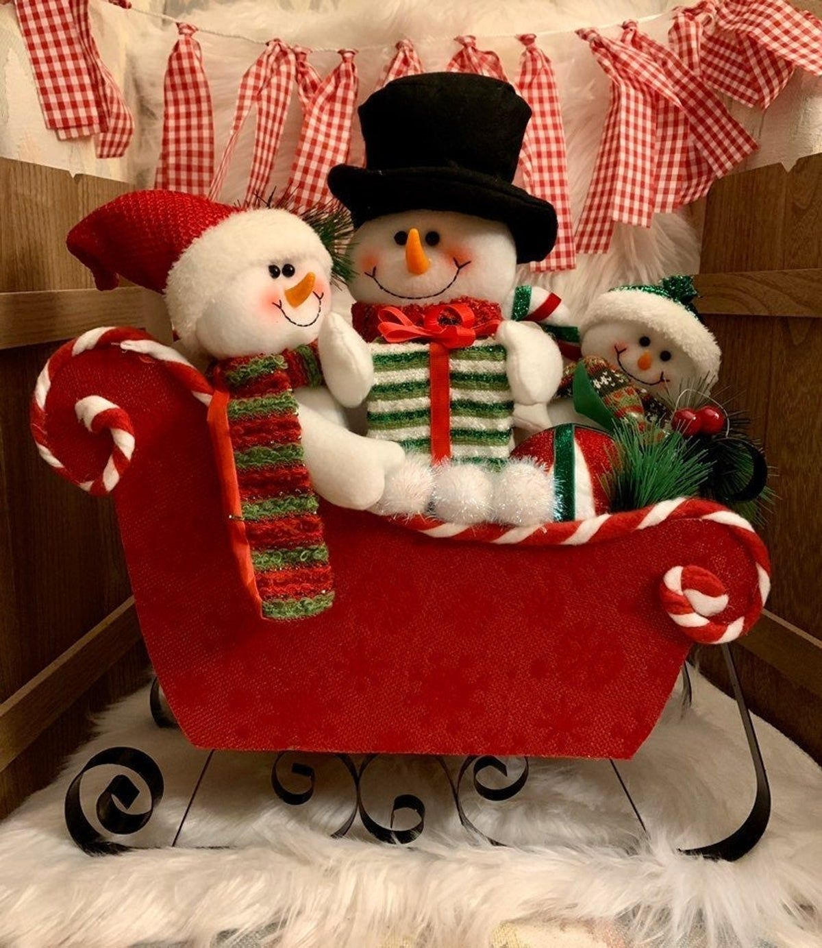 Snowman Family in Sleigh in 2020 Christmas decorations
