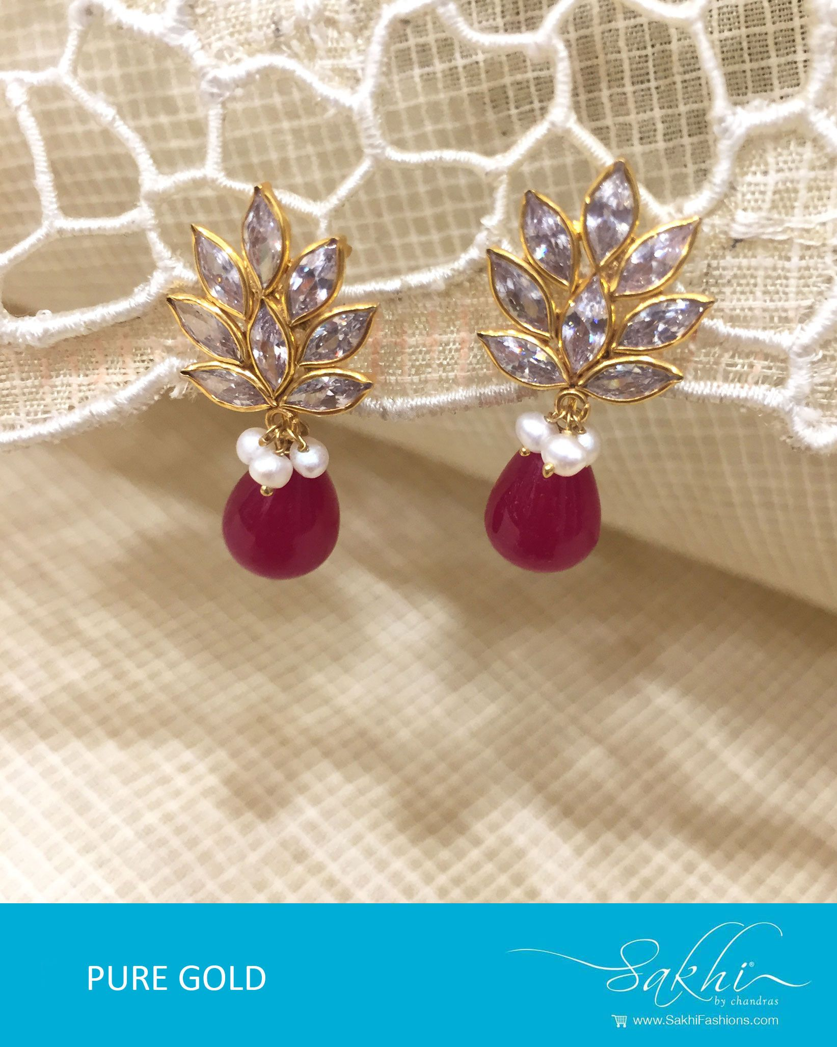 Look trendy in this Gold & Red Pure Gold Jhumka with pearl designs ...