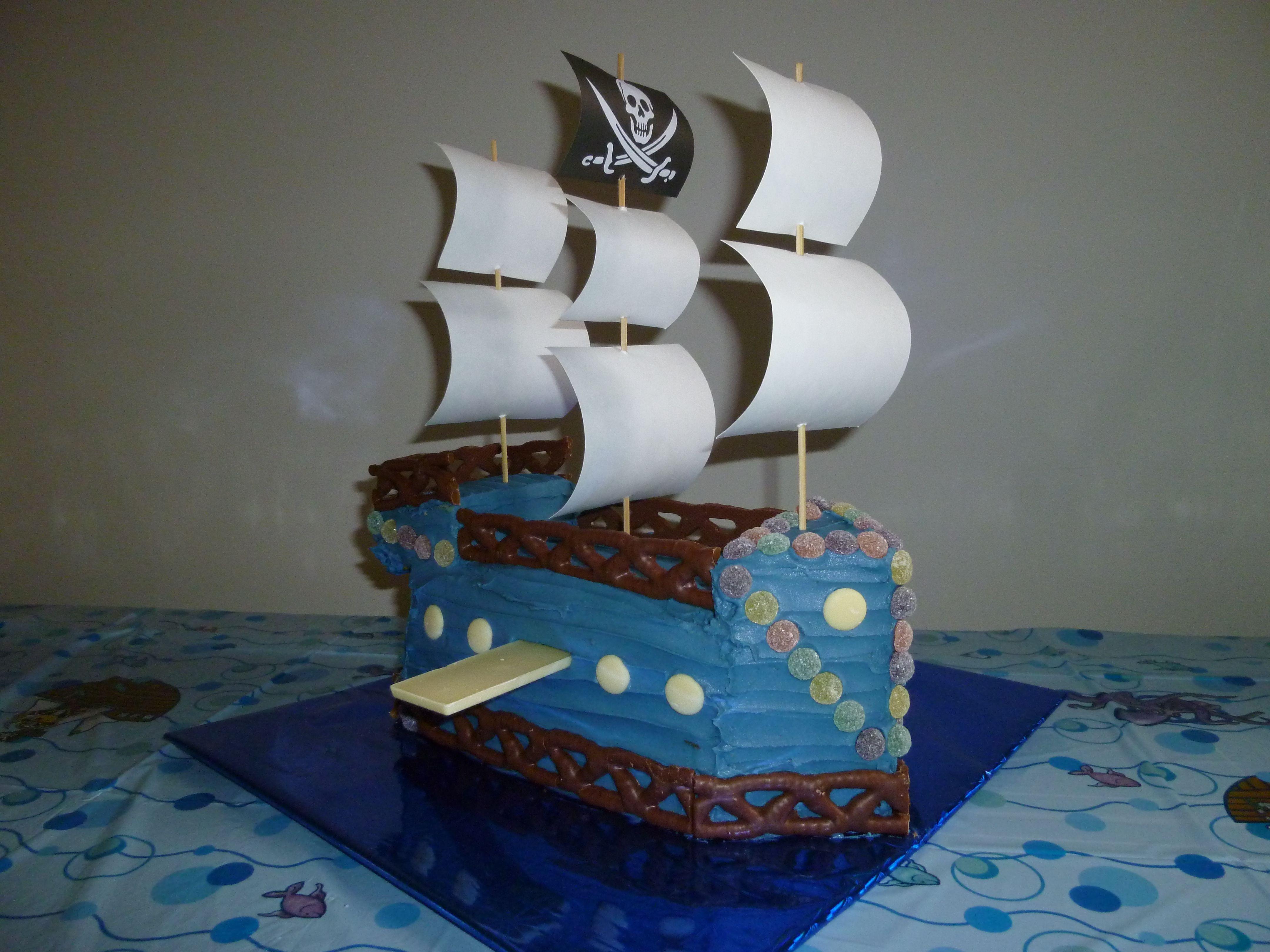Homemade 1st birthday pirate ship cake for noah
