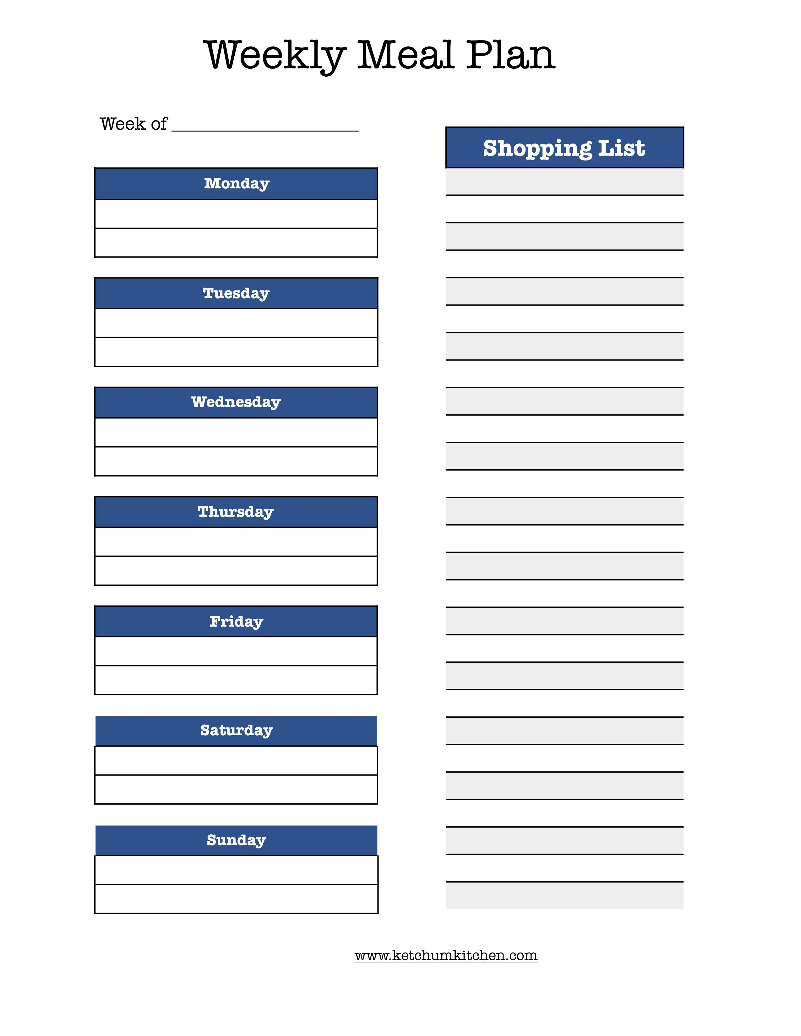 Printable Weekly Meal Plan Including Shopping List Meal