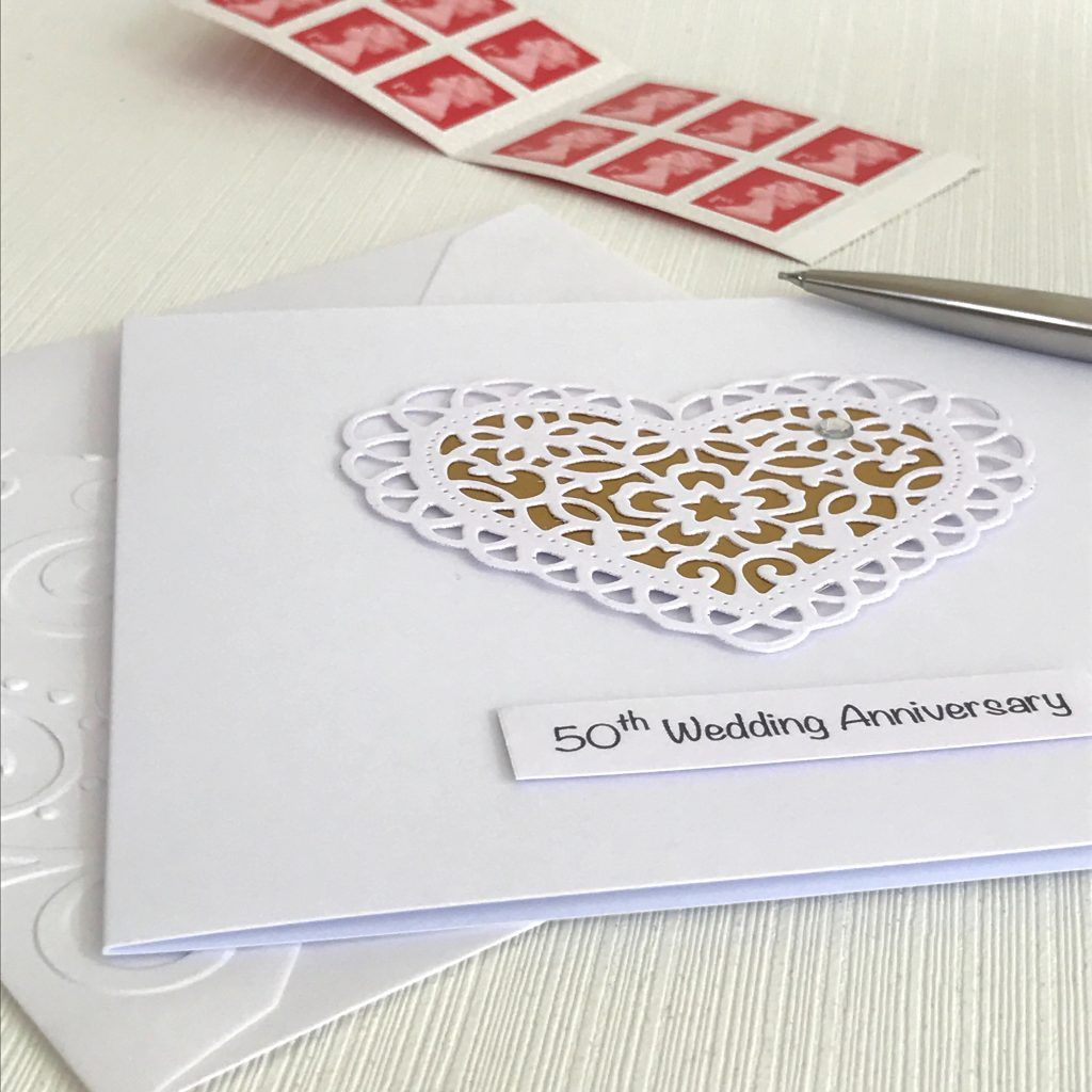 50th Wedding Anniversary Card with Paper Lace Heart