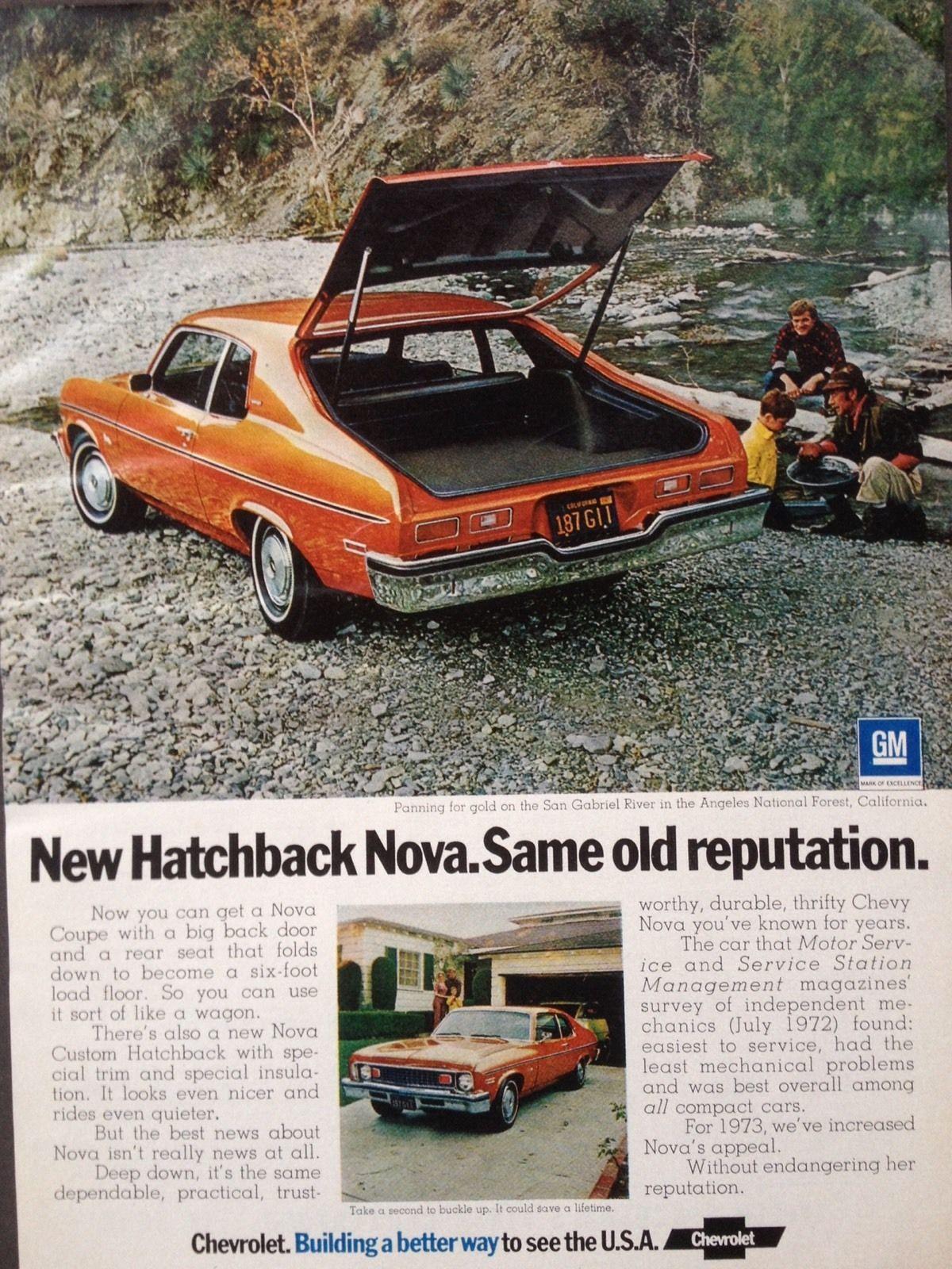 VINTAGE 1973 AD ODL12 73 CHEVROLET NOVA 2 DOOR HATCHBACK