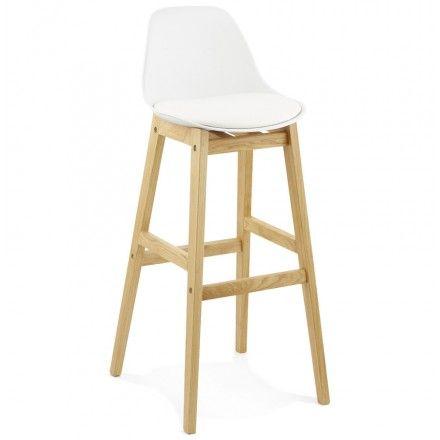 Une assise confortable et un pied bien stable, voici les principaux atouts du tabouret de bar design style scandinave FLORENCE en polyurethane blanc.