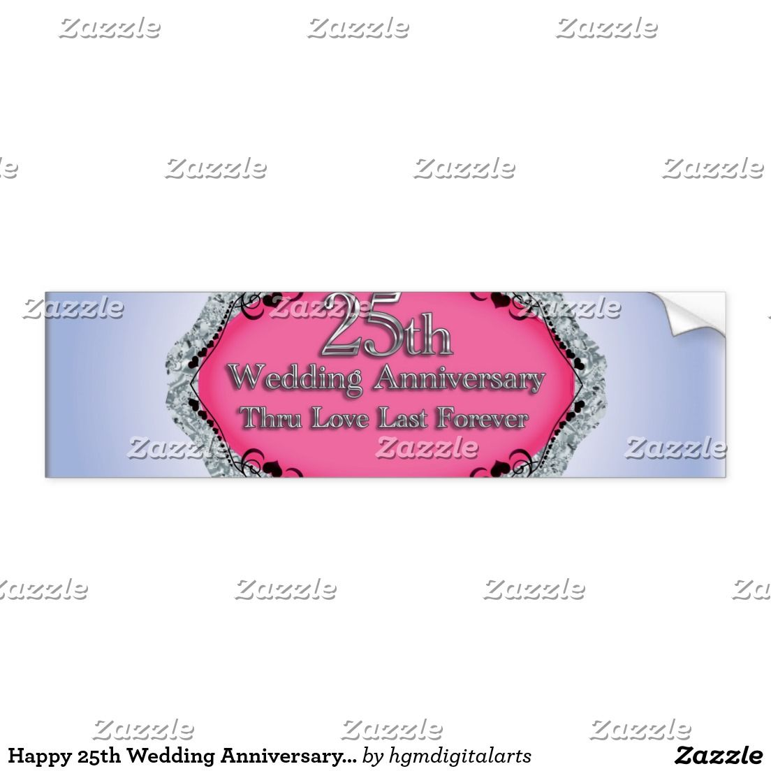 Happy 25th Wedding Anniversary Greeting Cards Bumper Sticker 50th