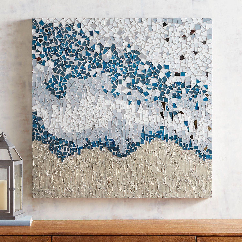 Navy Abstract Mosaic Wall Panel Mosaic Wall Art Abstract Wall Art Wall Art Prints