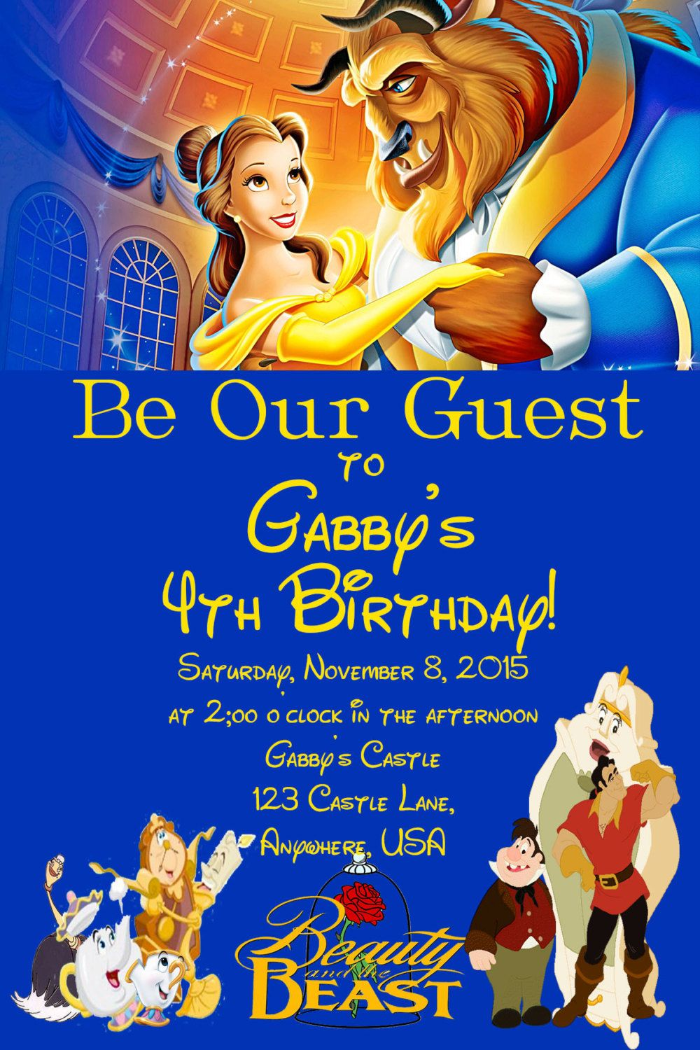 Beauty and the Beast Birthday Invitation by fromKelliwithlove on ...