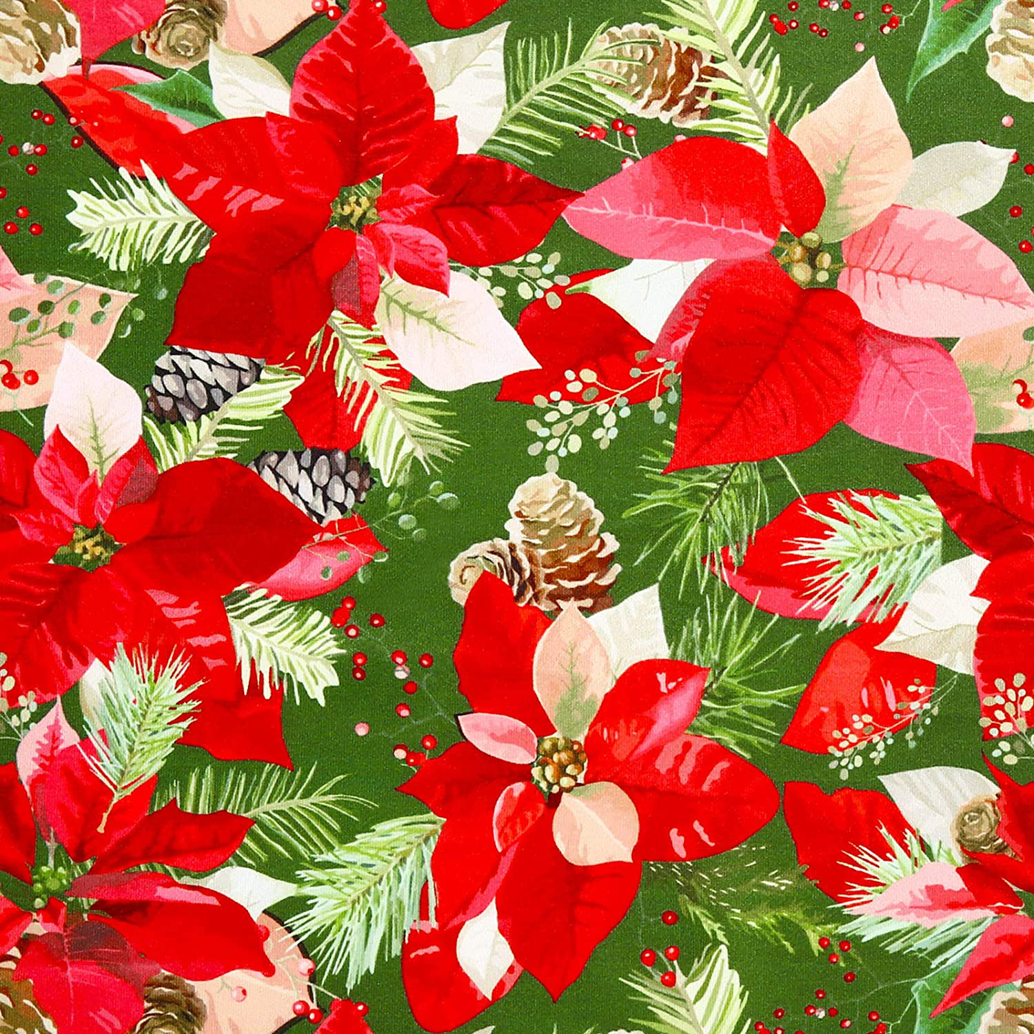 Photo of Christmas Polyester Fabric Sheet 43 x 35 Inch Christmas Flower Pattern Square Fabric Floral Printed Fabric Patchwork Quilting Craft Fabric for Sewing Quilting Apparel Craft Home Decor
