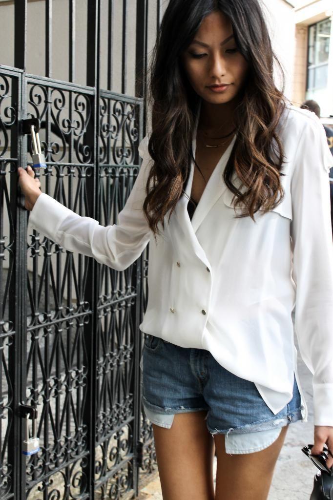 White blouse & denim shorts