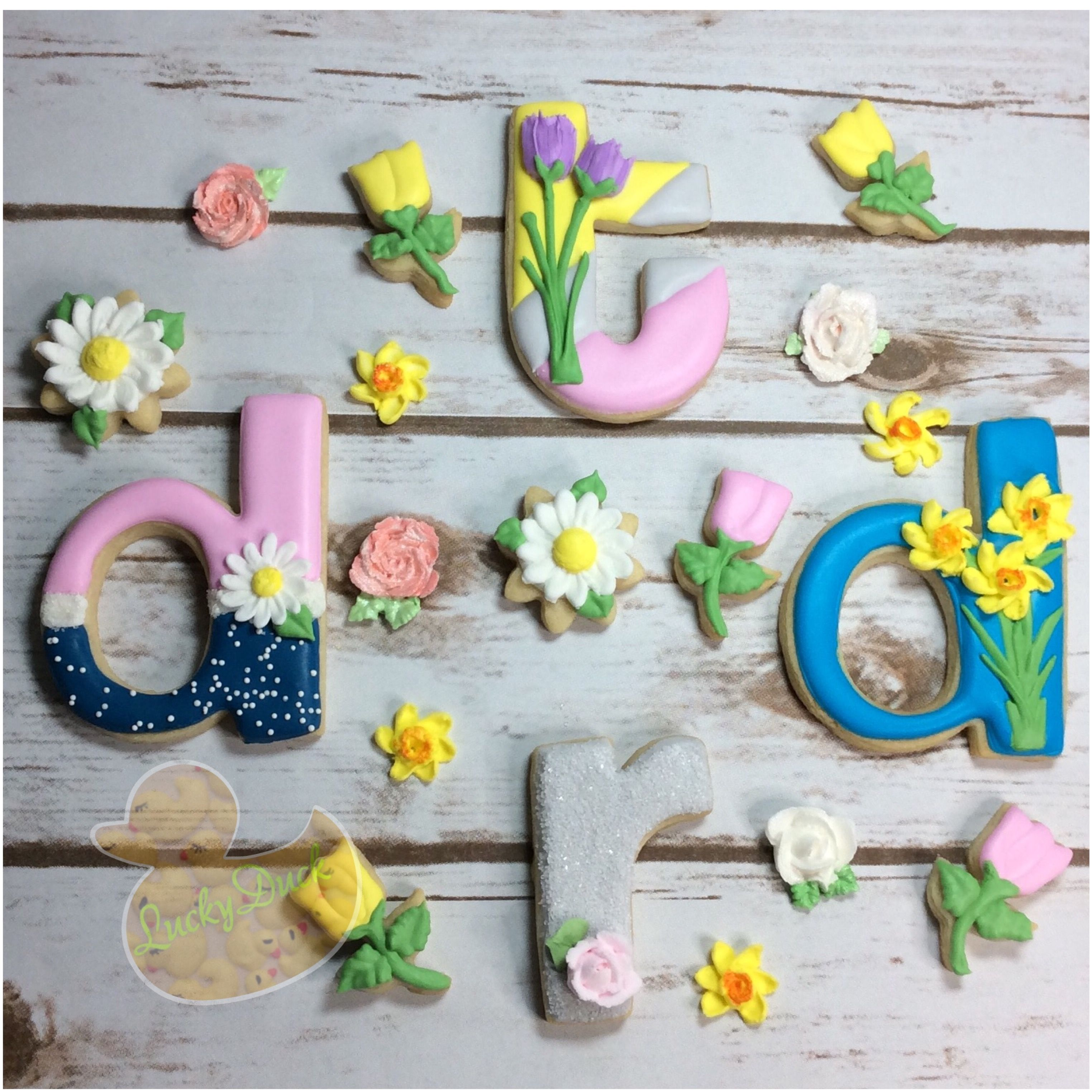 Helvetica lowercase cookie cutters Spring flowers daisy cookies