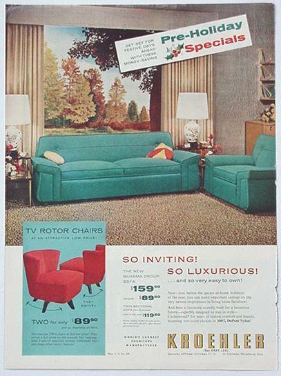 Adspast Com 1950 S Kroehler Sofa Tv Rotor Chairs Ad Vintage
