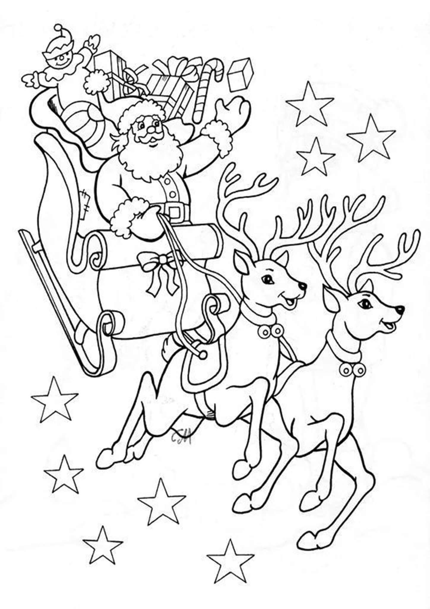 Free Printable Reindeer Coloring Pages Santa Coloring Pages Printable Christmas Coloring Pages Christmas Coloring Sheets