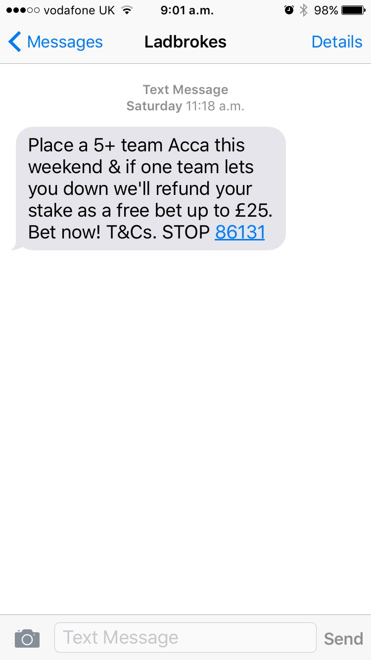 Ladbrokes Sms Football Acca Text Messages One Team Sms