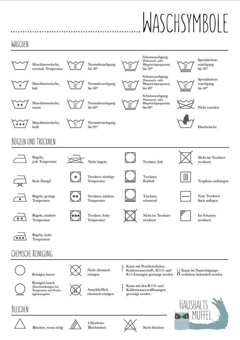 Die Welt Der Waschsymbole Mit Download Haushaltsmuffel Waschsymbole Haushalt Hausreinigungs Tipps