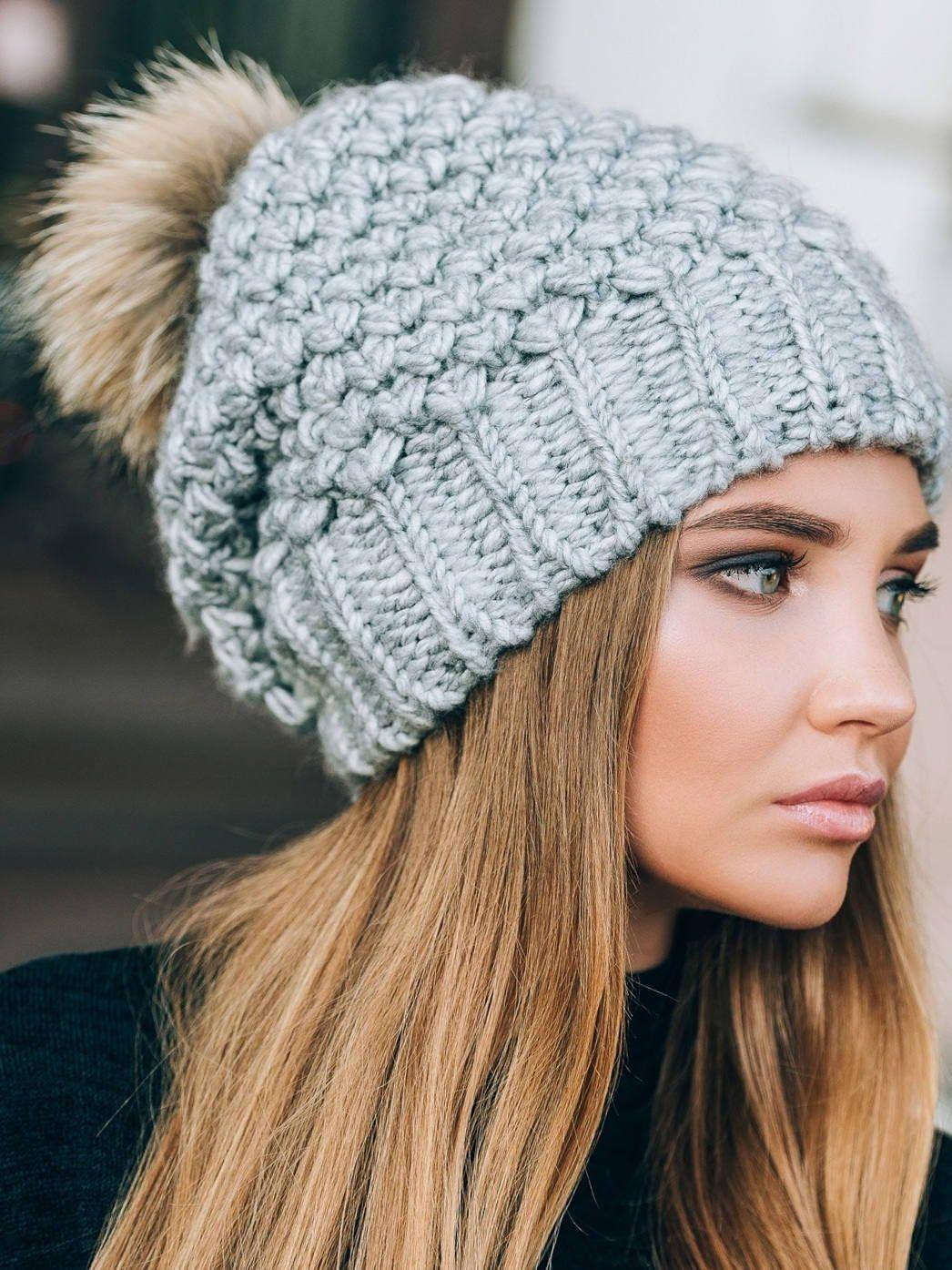 b91cf470a8a Fur Pom pom slouchy beanie fleece lined-Pom pom slouchy beanie-Big pom pom  hat-Christmas gift for wife-Pompom hat-Gray slouchy beanie  winter  hat   afflink