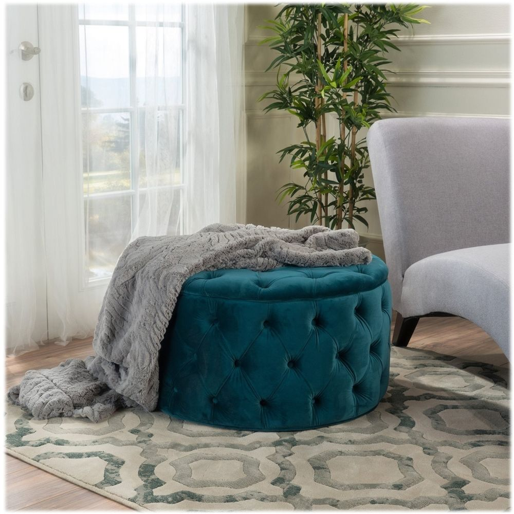 Noble House Colebrook Tufted Ottoman Dark Teal In 2020 Round