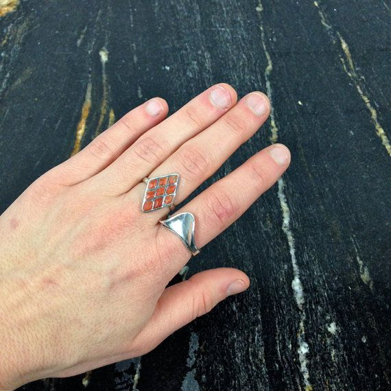 vintage sterling silver and coral diamond by LiminalCollective