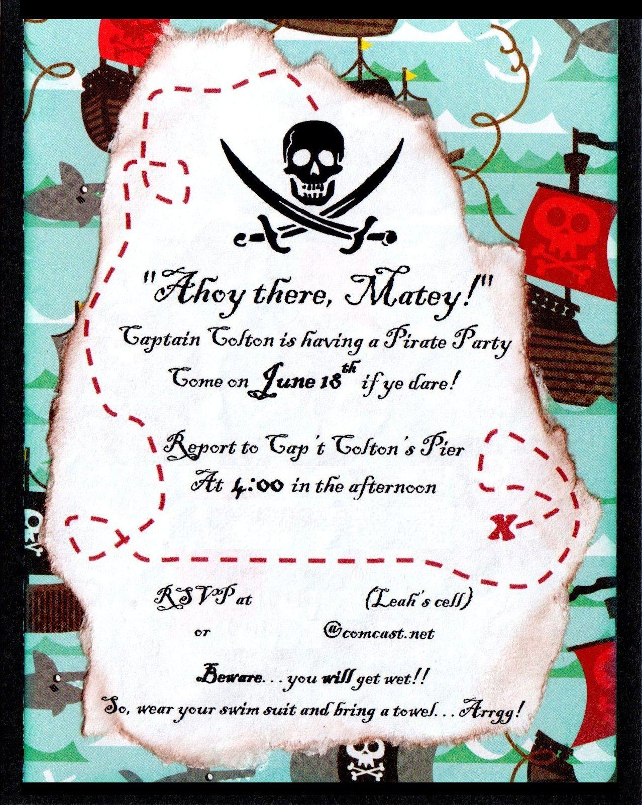 Pirate birthday invitation Boys 4th birthday Pinterest