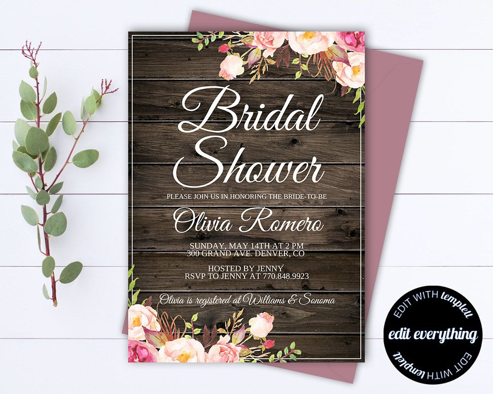 Rustic Bridal Shower Invitation Country Bridal Shower Invite
