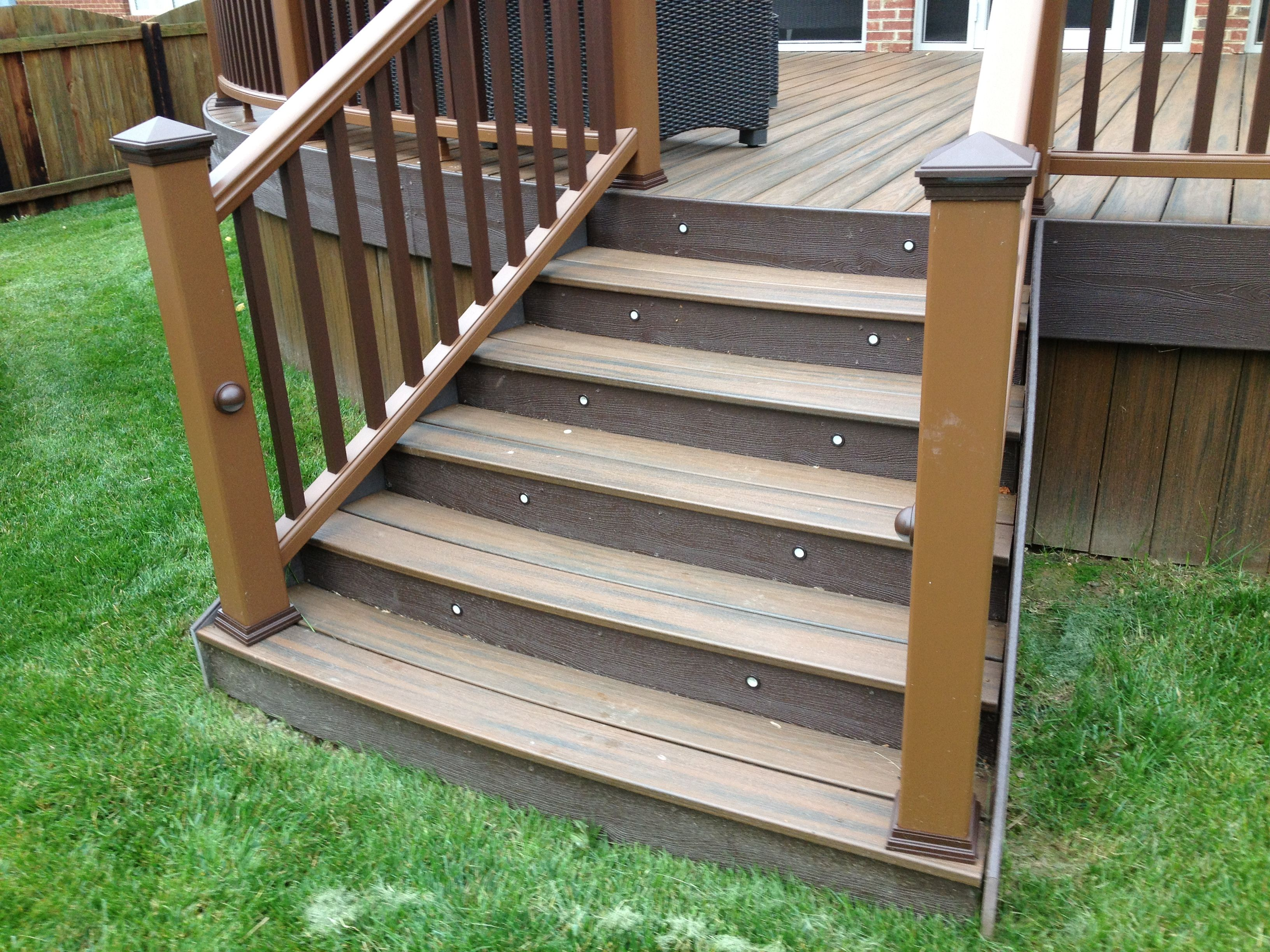 Pin By Deckadent Designs On Trex Porch And Curved Deck Outdoor Stair Railing Composite Decking Steps Outdoor Stairs