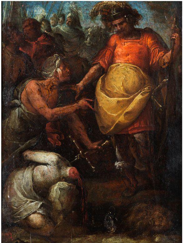 DIE ENTHAUPTUNG DES HEILIGEN PAULUS Öl auf Holz. 28 x 20,5 cm. Verso Siegel einer lombardischen Sammlung des 17. Jahrhunderts. Gerahmt. (1092121) (21)