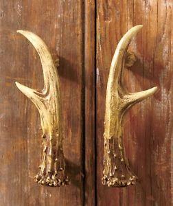 2 Pc Rustic Deer Antler Cabinet Door Pulls Hunting Cabin Lodge